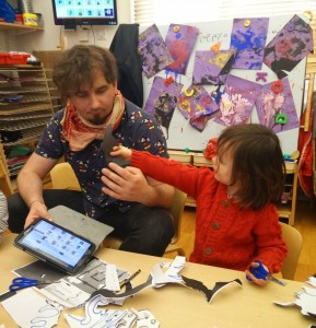 Touchscreen tablet in nursery